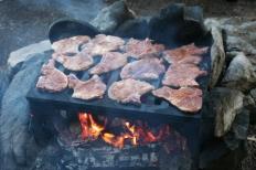 BWCA june 07pork steaks on the grill